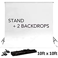 BalsaCircle 8 ft x 10 ft Black Photo Backdrop Stand Kit + 2 Free Backdrops