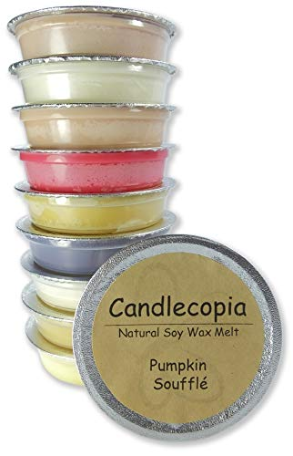 Candlecopia Vanilla Hazelnut, Pumpkin Soufflé, Seriously Cinnamon, Baked Apple Pie and More! Strongly Scented Hand Poured Premium Natural Soy Wax Melt Cups, 12.5 Ounces in 10 x 1.25 Ounce Sealed Cups ()