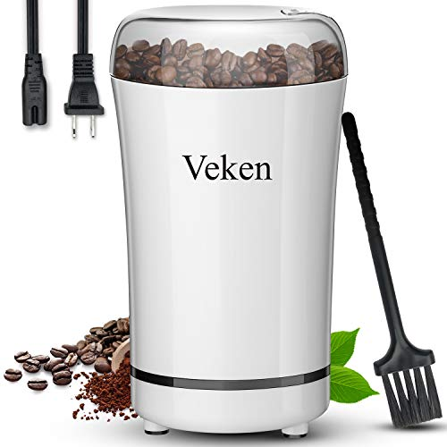 Veken Coffee Grinder Electric Spice & Nut Grinder with Stainless Steel Blade, Detachable Power Cord Coffee Bean Grinder for Coffee Grounds, Grains, 12 Cups (white)