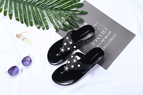 Pour Beach Noir Beginning Auspicious Camellias Flat Et Tongs Slipper Femme Perles 8YHx6qT