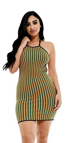 Cleo Maxi Dress - Colorclocked Striped Halter Tie Back Mini Dress