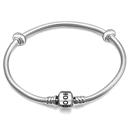 Hoobeads 925 Sterling Silver Snake Chain Bracelet with 2 Removable Stopper Beads Charms Bracelet (22 (Silver Pandora Bracelet)