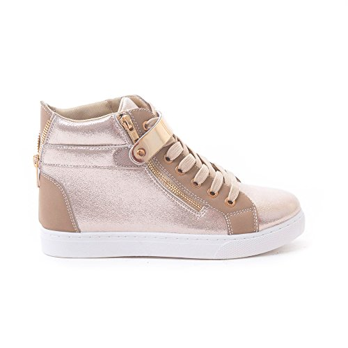Soho Shoes Women's Leatherette Metallic Lace Up High Top Sneakers