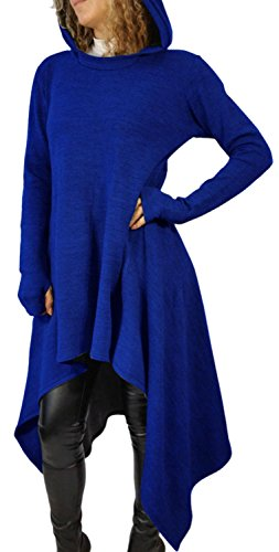 Anmengte Women's Fashion Casual Irregular Maxi Solid Color Hooded Sweater Blouse Top (XL, Blue)