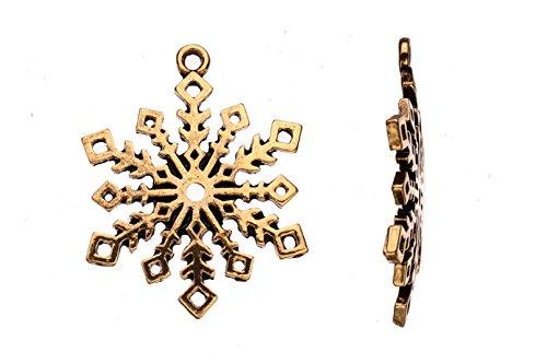 Snowflake Antique Gold-Finished Pendant 35X2.5mm sold per 2pcs/pack (3packs bundle), SAVE (Antique Gold Snowflake)