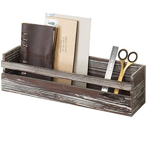 MyGift Wall Mounted Decorative Torched Wood Shelf, Storage Box Organizer, Dark Brown (Bedside Wall Mounted Shelf Book)