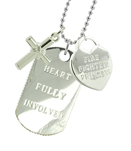 Solid Sterling Silver Firefighter Girlfriend Dog Tag CX by New York 925 & Co.