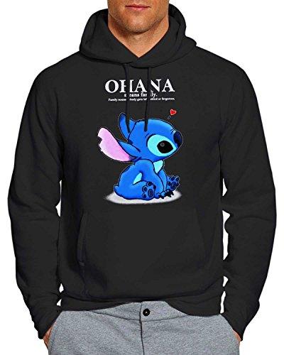 OHANA Lilo and stitch Hoodie Unisex Adults Black 2XL WF