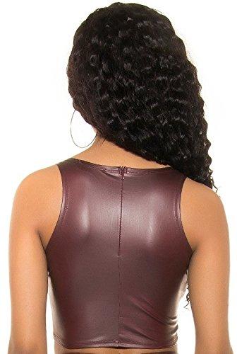 untersch. Styles - Wetlook Tank Crop Top * S M L * mit Mesheinsatz Rückenfrei Cropshirt Crop sirt mit Zip (900664 Bordeaux Gr. S)