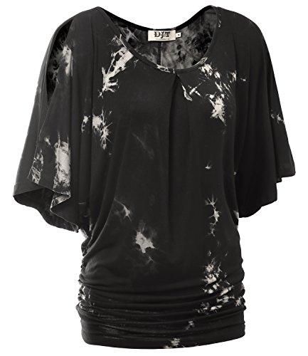 DJT-Top Camiseta para Mujer con Mangas Anchas de Murcielago Negro Estampado