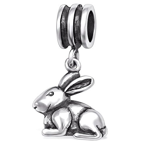 Pro Jewelry 925 Solid Sterling Silver Dangling Bunny Rabbit Charm -