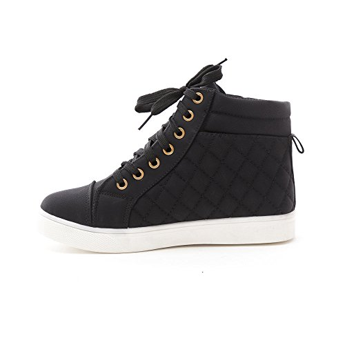 Soho Schoenen Womens Casual Lace-up Hoge Top Gewatteerde Fashion Sneaker Zwart / Wit