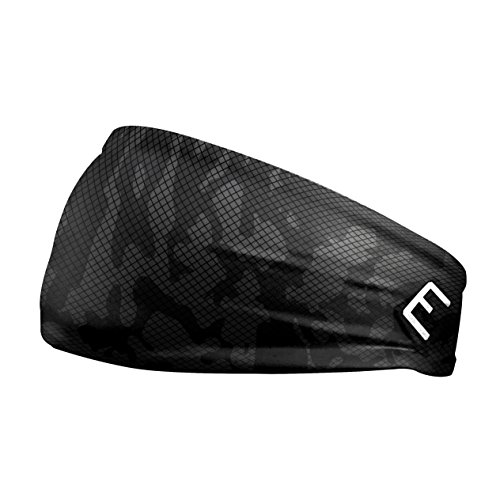 Unisex Headband / Sweatband. Best for Sports, Fitness, Working Out, Yoga. Tapered Design. (GREY CARBON CAMO)