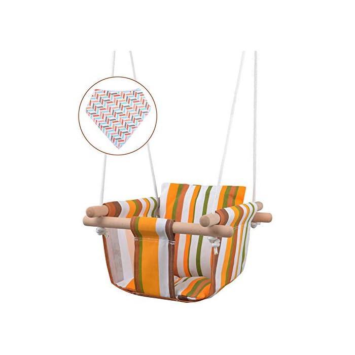 41qWhtRCI3L ✅ REASEGURACIÓN - ENVUELTO: Diseñado con un estilo envolvente, construido con 4 tacos de madera lisa de alta calidad para soporte múltiple y manos que lo sostienen. Para evitar que el bebé se caiga o duela, y deja la pierna abierta para un estiramiento flexible. El bebé puede desarrollar naturalmente su equilibrio en un momento feliz de swing. ✅ CALIDAD SATISFACTORIA: Hecho de tela de lino de lino natural y duradera con un toque hipoalergénico, agradable para la piel y plano, lo que hace que no raye la piel del bebé como tienden a hacerlo las bases duras de columpio. Fresco y transpirable en los calurosos días de verano. Pero POR FAVOR, NO deje al bebé solo, independientemente de lo seguro que sea. (Este asiento de columpio de tela para bebé tiene capacidad para un bebé de 6 meses a 3 años de edad hasta 132 lb / 60 kg. ) ✅ DISEÑO CÓMODO: ❤Viene con cojines de almohada suaves y adorables que combinan para un respaldo y una sentada cómodos.❤ Viene con una cuerda ajustable en longitud, rango de 125CM a 145CM, y el cojín desmontable se siente más cómodo y seguro. Creemos que su hijo se divertirá más jugando con él.