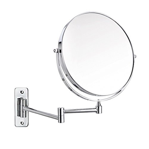 Vanity Mirrors Makeup mirror Bathroom mirror Folding and retractable Closer mirror Double-sided HD mirror Bathroom Wall-mounted mirror (Color : Silver, Size : 20cm(8 inches))