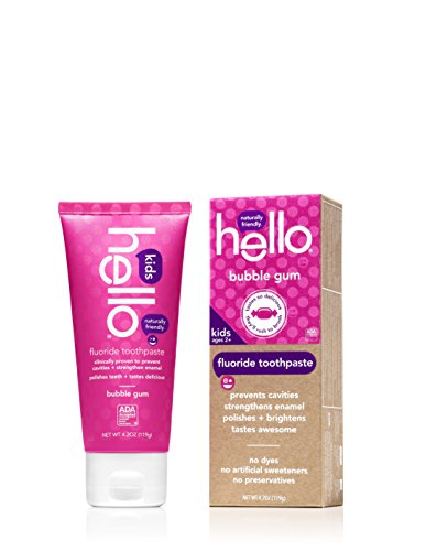 Hello Oral Care Fluoride Toothpaste for Kids Age 2 Above, Bubble Gum, 4 Count