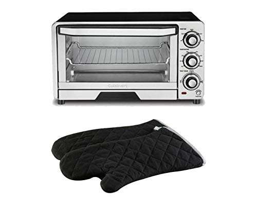 Cuisinart 1800-Watt, 6-Slice Stainless Steel Toaster Oven with Automatic Shutoff bundle with Lavish Home 2-Piece Quilted Cotton Heat/Flame Resistant Oversized Oven Mitts, Black