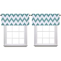Flamingo P Chevron Teal 2 Pack Valance Curtain for...