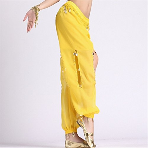 Danza Trajes Dancewear Danza del vientre Disfraz Conjunto Bandage Butterfly Tops & Chiffon Coins Led Open Pants Yellow