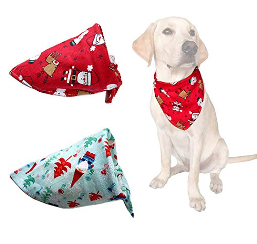 yagopet 2pcs Pet Dog Christmas Bandanas Cotton Soft Snowman Gift Dog Triangle Fit for Small Middle and Large Dogs (Pattern A)
