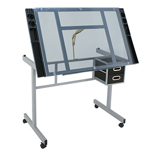 ZENY Adjustable Glass Top Drawing Desk Craft Station Drafting Table Tempered Glass Top Art Craft w/ 2 Slide Drawers and Wheels