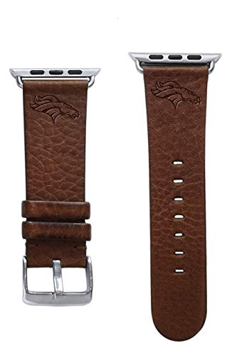 Game Time Denver Broncos Brown Leather Band Compatible with Apple Watch - 42mm - NFL Watch Band