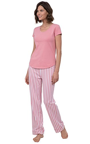 PajamaGram PJ Sets for Women - Cotton Women's Pajamas, Pink Stripe, XS, 2-4 - Stripe Pyjama Set