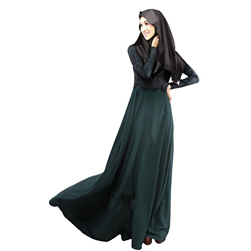 LSERVER Womens Casual Middle East Moslem Dress Abaya Silk Fabric Clothes Full Length Atrovirens M by LSERVER