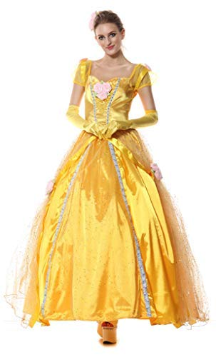 Ladies Long Full Length Golden Princess Fairytale Halloween Fancy Dress Costume Outfit (UK -