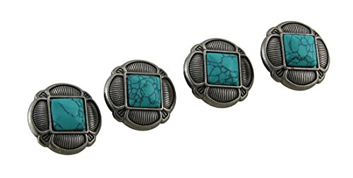 (Metal Drawer Pulls Set Of 4 Faux Turquoise And Antique Silvertone Decorative Drawer Knobs 1.5 X 1.5 X 1.5 Inches Turquoise)