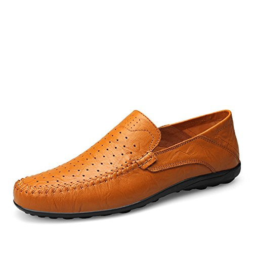 EU Yellow Casual Slip Color 45 alla Driving Uomo Morbidi Slipper di Brown Dimensione On Design Mocassini Moda Hollow Vamp Loafer da 6d8q4Rqxw