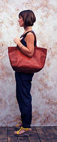 MON PARTENAIRE taglia M marrone medio cuoio tote bag in stile vintage PAUL MARIUS