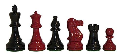 World Wise Imports Piezas de ajedrez de doble peso en madera de boj lacado en negro y rojo