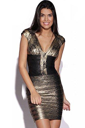 Vestido negro con estampado dorado