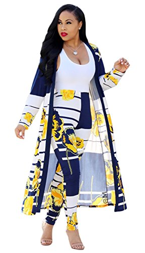 PARIS HILL 2 Piece Outfit for Women Long Sleeve Cardigan and Pants Set Yellow X Large