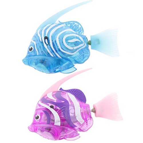 Baoblaze Pack 2 Swimming Diving Robot Fish Flashy Electronic Pets Toy Electric Sea Horse Lantern Fish Shark Clownfish Home Decor - #9 (Flashy Fish)