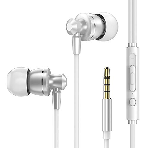 Earphones/Earbuds/Headphones 3.5MM Metal in-Ear Wired Earphones HiFi Stereo Bass Earbuds Headphones with Microphone for Phone Computer Headset White