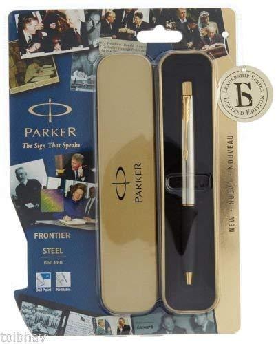 PARKER Frontier Steel Ball Pen Gold Trim Blue