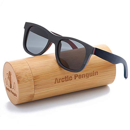 Wooden Sunglasses Skateboard Glasses Polarized Fishing Sun Shades for Men UV400 Protection with Bamboo Case 52mm (Black, Grey) (Glasses Frames For 60 Year Old Woman)