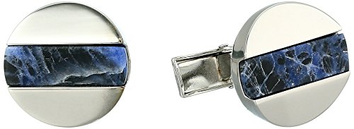 Ike Behar Men's Cufflinks, Lapis Blue Stripes, ONE Size