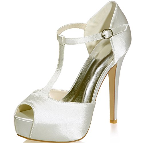 Sarahbridal Girls Dresses Satin Peep Toe Bridal Pumps Heels Wedding T-Strap Shoes For Women Size SZXF3128-37 (4 UK - 7 UK) Ivory IFohBBnl