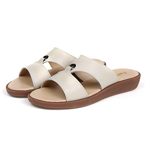 ZPPZZP Ms sandali pantofole piana e fondo piatto Stile minimalista 40EU bianco
