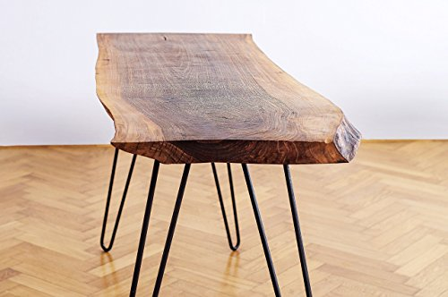 Solid Oak/Walnut Table. Wood Home Decor: Perfect for a Dining Table. Rustic Table with Live Top Edge and Steel Legs ()