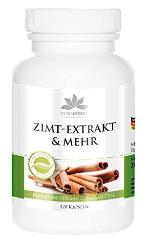 Herbadirekt - ZIMT EXTRAKT & MEHR - 120 Kapseln - 10fach konzentriert mit Chrom und Zink