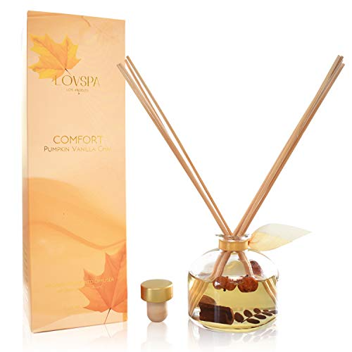 - LOVSPA Pumpkin Vanilla Chai Reed Diffuser | Comfort Wild Pumpkin, Spicy Chai, Cardamom, Vanilla & Cinnamon Scented Oil with Sticks | Great Spiced Kitchen Scent Any Time of Year