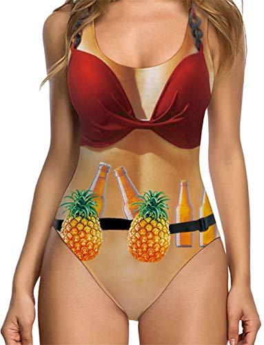 RAISEVERN Women's One Piece 3D Print Funny Swimsuits Bathing Suit Swimwear Beachwear
