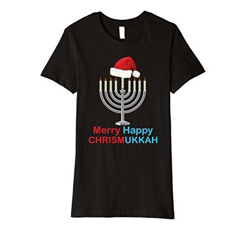 Menorah Hat (Womens Funny Christmas Hanukkah T-shirt Santa Hat Menorah Tee Large Black)