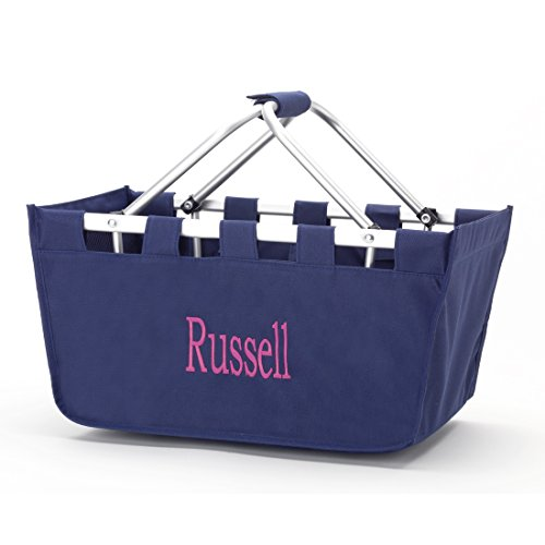 Monogrammed Navy Blue Full Size Collapsible Market Tote Baskets