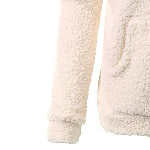 Hiver Chaud Coat Hoodie Femme shirt Dames Veste Capuche Couleur Unie Manteau Rovinci Polaire Coton Sweat Duveteux Beige Flou Tops Automne Zippé À 67nAqqa