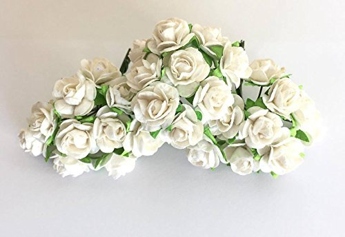 100 Pure White Mulberry Roses 10 - 15 mm. Paper Flowers Scrapbooking Embellishment by - Of Outlets Ms Pearl